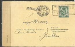 COB 425 Oblitéré Sur Carte - Griffe Linéaire : MIGNAULT - Lettres & Documents