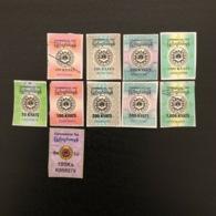 Myanmar Commercial Tax Stickers - 10 Different - Myanmar (Burma 1948-...)