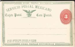 J) 1888 MEXICO, ERROR SHIFTED NUMERAL, MEXICAN POSTAL SERVICE, UPU, 3 CENTS NUMERAL, SHIFTED, POSTCARD, POSTAL STATIONAR - Mexico