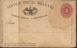 J) 1888 MEXICO, MEXICAN POSTAL SERVICE, EAGLE, NUMERAL, 2 CENTS, POSTCARD, POSTAL STATIONARY - Mexico