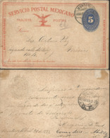 J) 1893 MEXICO, MEXICAN POSTAL STATIONARY, NUMERAL, 5 CENTS, EALGE, CIRCULALTED COVER, FROM MONTERREY TO MEXICO - Mexico