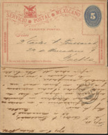 J) 1894 MEXICO, MEXICAN POSTAL SERVICE, EAGLE, NUMERAL 5 CENTS, CIRCULATED COVER, FROM MEXICO TO PUEBLA - Mexico