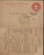 J) 1901 MEXICO, MEXICAN REPUBLIC, EAGLE, 2 CENTS RED, CIRCULATED COVER, FROM COAHUILA TO DURANGO - Mexico
