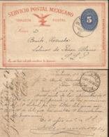 J) 1892 MEXICO, MEXICAN POSTAL SERVICE, EAGLE, NUMERAL 5 CENTS, CIRCULATED COVERM FROM MEXICO TO SAN LUIS POTOSI - Mexico