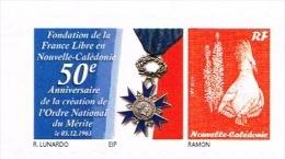 Nouvelle Caledonie Timbre Personnalise 50 Anniversaire Ordre National Merite Genral De Gaulle France Libre Neuf 2013 TB - Nuevos