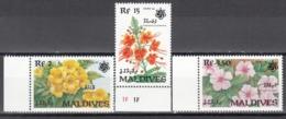 MALDIVES, 1990  Yvert Nº 1319 / 1321   MNH,  Exposición De Jardines Y Zonas Verdes, Osaka, Japón - Vegetales