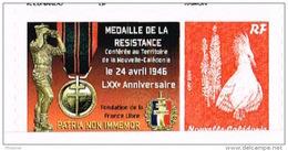 Nouvelle Caledonie Timbre Personnalisé Autocollant Privé Medaille Resistance Croix Lorraine 2016 Neuf - Non Classés