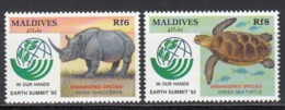 MALDIVES, 1992   Yvert Nº 1558 / 1559,  MNH, Rinoceronte, Tortuga, - Mono