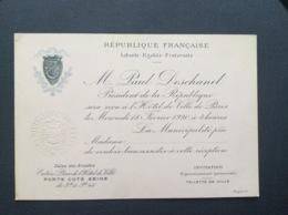 MUNICIPALITÉ DE PARIS Invitation PORTE COTE SEINE Salon Des Artistes M.PAUL DESCHANEL Président De La République  1920 - Faire-part
