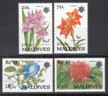 MALDIVES, 1990  Yvert Nº 1303 / 1306  MNH,  Exposición De Jardines Y Zonas Verdes, Osaka, Japón - Vegetales