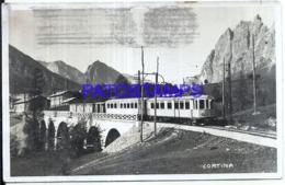 119332 ITALY CORTINA VIEW BRIDGE & TRAIN CIRCULATED TO ARGENTINA POSTAL POSTCARD - Italie