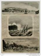 Espagne - Porte Et Ville De Mahon - Cap Alto - Page Original  1862 - Documentos Históricos