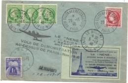 MAZELIN 2FRX3+1FR LETTRE SALON AERONAUTIQUE 29.11.1946 + LE BOURGET + VIGNETTE AVION REACTION LE NENE - Postmark Collection (Covers)