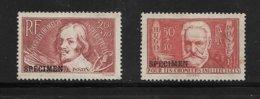 France Timbres De 1936 N°330 Et 332 Neufs Sans Gomme Surchargés  SPECIMEN  Pas Trouvé La Cote - Lehrkurse