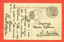 INTERI POSTALI - C 68   -  DA  MEZZOCORONA PER SAN MICHELE ALL'ADIGE - 1900-44 Vittorio Emanuele III