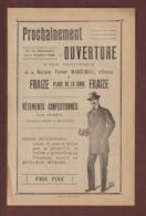 Année 1920 - Vêtements Maison Victor MARCHAL D' Epinal . Ouverture à FRAIZE . 88  D'une Succursale - Voir Les 2 Scannes - Publicités