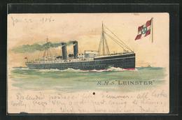 Lithographie Passagierschiff RMS Leinster In Voller Fahrt, City Of Dublin Steam Packet Co. Dublin - Steamers