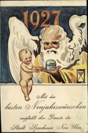 Artiste Cp Glückwunsch Neujahr, Jahreszahl 1927, Städtische Sparkasse Neu Ulm - New Year