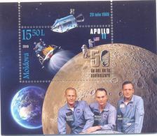 2019. Moldova, Space, Apollo XI, 50y Of First Moon Landing, S/s, Mint/** - Moldawien (Moldau)