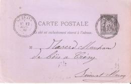 Seine Et Marne :- GUERARD Dateur Type 24 Sur Entier 10c. Sage - 1877-1920: Période Semi Moderne