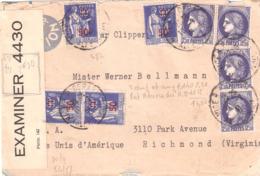 Divers Timbres Oblitéré NICE RP DEPART Sur Lettre Pour Les ETATS UNIS Avec Controle Militaire - 1921-1960: Modern Period