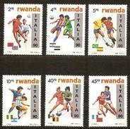 Rwanda Ruanda 1990 Yvert 1301-1306 OCBn° 1371-1376 *** MNH  Cote 75,00 Euro Football Italia 90 En Surcharge - Rwanda