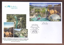 AC - TURKEY BLOCK FDC - NATURAL PROTECTION AREAS AND NATIONAL PARKS - KOPRULU CANYON ANTALYA,06 SEPTEMBER 2019 - 1921-... República