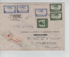 PR6935/ TPA 2-9(2)-11(7)- TP 229(3)-234-239(4) S/L.Avion Recommandée C.Léopoldville 1946 > Léo > Etterbeek C.d'arrivée - Congo Belge