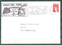 MARCOPHILIE - P H Jeanne D'Arc + FORBIN Campagne 80-81 Escale à SHANGHAÏ Du 26 Au 31 Janvier 1981 Flamme Du 28-1-1981. - Posta Marittima
