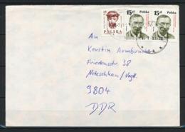 Polen, MiNr. 3168 + 3170 (2x) Auf Brief In Die DDR; B-9 - 1944-.... Republik