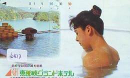 Télécarte Japon * EROTIQUE (6817) DANS LA BAIN *  EROTIC PHONECARD JAPAN * TK * BATHCLOTHES * FEMME SEXY LADY LINGERIE - Moda