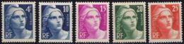 FRANCE 725 à 729 ** MNH Marianne De Gandon En Taille-douce Petit Format (23,30 €) - Unused Stamps