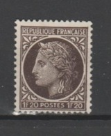 FRANCE / 1945 / Y&T N° 677 : Cérès De Mazelin 1F20 Brun-noir - Choisi - Cachet Rond - Used Stamps