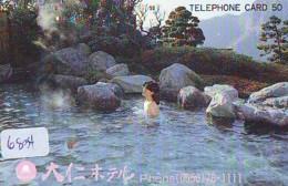 Télécarte Japon * EROTIQUE (6834) DANS LA BAIN *  EROTIC PHONECARD JAPAN * TK * BATHCLOTHES * FEMME SEXY LADY LINGERIE - Moda