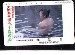 Télécarte Japon * EROTIQUE (6837) DANS LA BAIN *  EROTIC PHONECARD JAPAN * TK * BATHCLOTHES * FEMME SEXY LADY LINGERIE - Moda