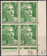 FRANCE 716A ** MNH Marianne De Gandon En Coin Daté Du 25.7.47 - 1940-1949
