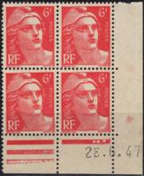 FRANCE 721A ** MNH Marianne De Gandon En Coin Daté Du 28.6.47 - 1940-1949