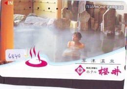 Télécarte Japon * EROTIQUE (6840) DANS LA BAIN *  EROTIC PHONECARD JAPAN * TK * BATHCLOTHES * FEMME SEXY LADY LINGERIE - Moda