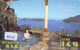 Télécarte Japon * EROTIQUE (6848) DANS LA BAIN *  EROTIC PHONECARD JAPAN * TK * BATHCLOTHES * FEMME SEXY LADY LINGERIE - Moda