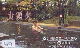 Télécarte Japon * EROTIQUE (6857) DANS LA BAIN *  EROTIC PHONECARD JAPAN * TK * BATHCLOTHES * FEMME SEXY LADY LINGERIE - Moda