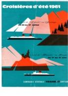 Paquebot Liberté - CGT Générale Transatlantique - Dépliant Croisière D'été En Norvège 1961 - 6 Pages  - 26,5 X 21 Cm - Bateaux