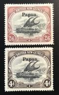 Papua (British New Guinea) 1907 SG 37 + 42 Mint * VF, Lakatoi Canoe (Papouasie Sailing Ship Boat Voilier Boot Segelboot - Papua New Guinea