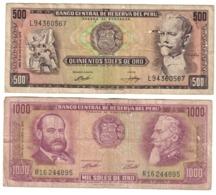 Peru Lot Set 2 Banknotes *V* - Perù