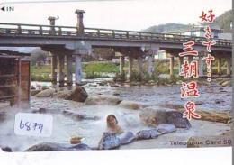 Télécarte Japon * EROTIQUE (6879) DANS LA BAIN *  EROTIC PHONECARD JAPAN * TK * BATHCLOTHES * FEMME SEXY LADY LINGERIE - Moda