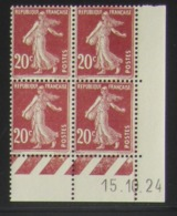 Semeuse 20 C. Brun 139 En Bloc De 4 Coin Daté - Assez RARE - 1906-38 Semeuse Camée
