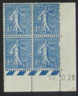 Semeuse 1 F. Bleu 205 En Bloc De 4 Coin Daté - Pas Cher - 1903-60 Semeuse Lignée