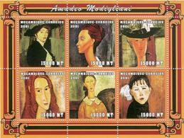 Mozambique 2001 - Amadeo Modigliani 6v - Y&T 1694ES-1694EX, Scott 1477 , Michel 2133-2138. - Mozambico