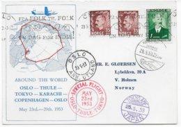 """NORVEGE - 1953 - CARTE """"AUTOUR DU MONDE"""" - VOL SPECIAL OSLO - TOKYO (JAPAN) - KARACHI - COPENHAGEN - OSLO - Lettres & Documents"""