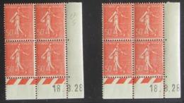 Semeuse 50 C. Rouge 199 En Paire De 2 Blocs De 4 Coin Daté - Pas Cher - 1903-60 Semeuse Lignée