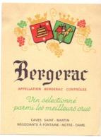 Etiket Etiquette - Vin - Wijn - Bergerac - Caves Saint Martin à Fontaine Notre Dame - Bergerac